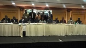 Newly elected members of the NIDO Europe Central Executive Council with Dignitaries and 2016 Electoral Committee, during the NIDO Europe 2016 Election AGM held at President Hotel, Athens, Greece, on Saturday 12th November 2016. Seated from left to right: Engr. Adeyemi Ademuyiwa – Financial Officer, NIDO Europe Central Executive Council 2016/18; Engr. Solomon Ogbaji – Chairman, NIDO Europe France Chapter; Sir Chibuzo Ubochi – Legal Adviser, NIDO Europe Central Executive Council 2016/18; Engr. Cornelius Obot – Vice Chairman, NIDO Europe Central Executive Council 2016/18; Hon. Kenneth Gbandi – Chairman, NIDO Europe Central Executive Council 2016/18; Hon. Barrister Rita Orji, Chairperson, House of Representatives Committee on Diaspora Affairs; His Excellency, CDA, Mr. Ogah Usman Ari, the Nigerian Ambassador to Greece; Engr. Abiodun Ogunsakin – General Secretary, NIDO Europe Central Executive Council 2016/18; Morgan Clement – IT Officer, NIDO Europe Central Executive Council 2016/18; Dr. Camillus Konkwo – Social, Welfare & Event Officer, NIDO Europe Central Executive Council 2016/18; Dr. Emmanuel Oparaocha – Chairman, NIDO Europe Greece Chapter.