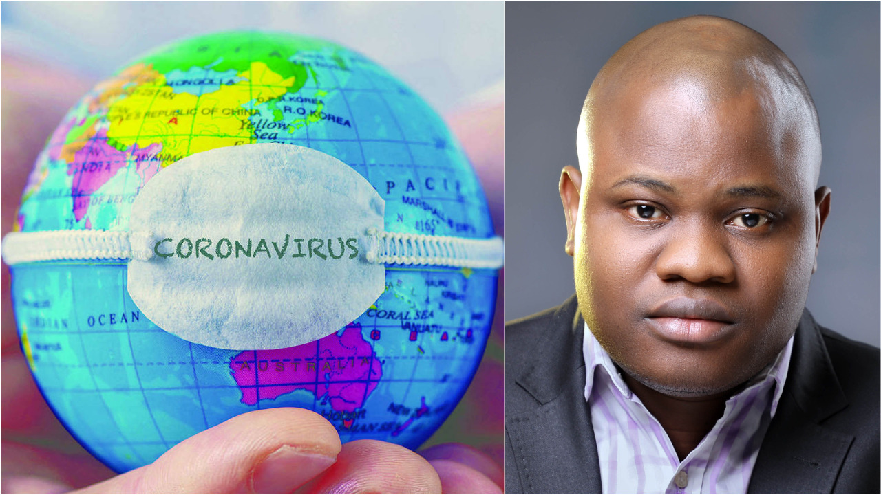 coronavirus inscribed on a world map