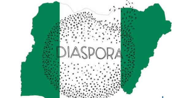 Nigerian flag with the word Diaspora